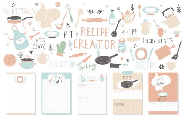 Modern Recipe card template set for cookbook. Menu Creator Vector Illustration Modern Recipe card template set for cookbook. Menu Creator Vector Illustration cooking drawings stock illustrations