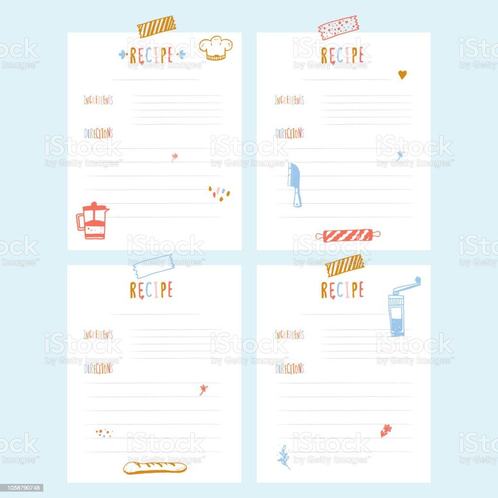 Modern Recipe card template set for cookbook. Menu Vector Illustration vector art illustration