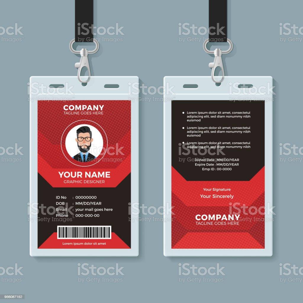Plantilla de tarjeta de identificación moderno rojo y negro - ilustración de arte vectorial