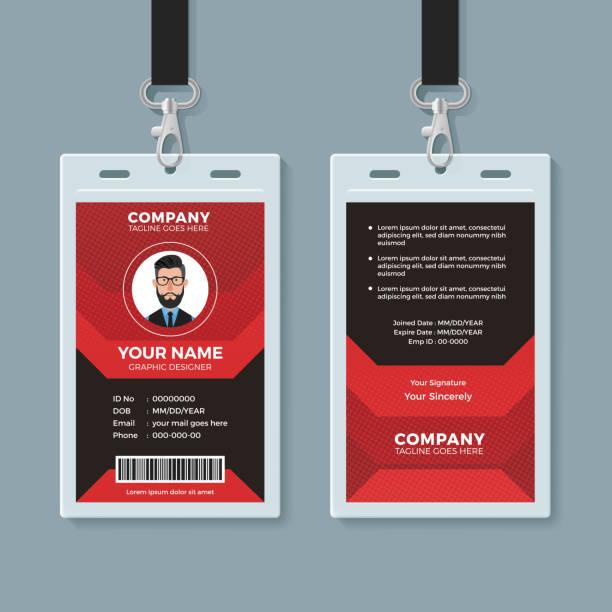 ilustraciones, imágenes clip art, dibujos animados e iconos de stock de plantilla de tarjeta de identificación moderno rojo y negro - carne