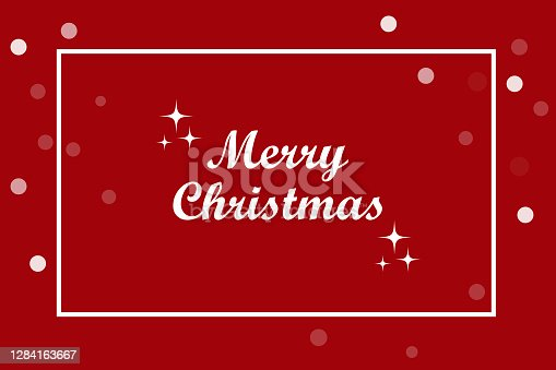 istock Modern red card merry christmas. Vintage hand drawn greeting card on red backdrop. Stock image. EPS 10. 1284163667