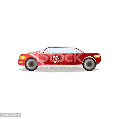 istock Modern red color limousine with red ribbons and heart stickers 1207730798