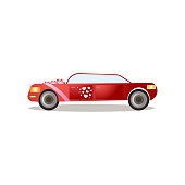 Modern red color limousine with red ribbons and heart stickers, just married day. Cartoon style. Vector illustration on white background