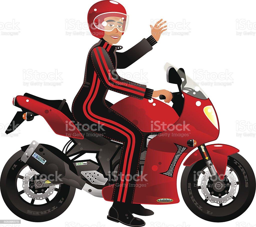 Modern red racing motorbike royalty-free stock vector art