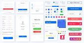 Modern responsive mobile app or website GUI,UI,UX layout including Login, create account,