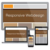 Vector Modern responsive web design concept. Eps10 vector illustration with layers (removeable). Pdf and high resolution jpeg file included (300dpi).