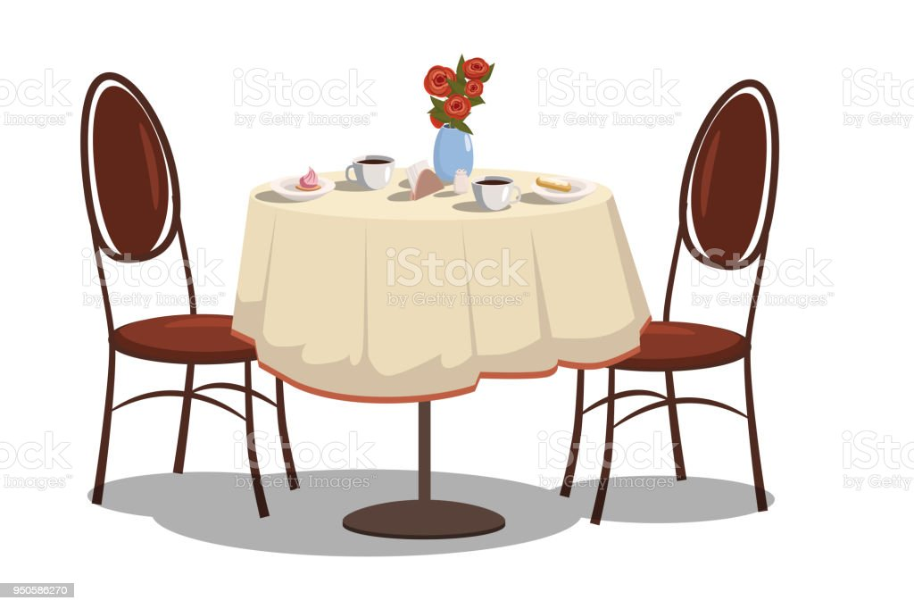 Modern Restaurant Table With Tablecloth, Coffe Mugs, Flowers, And Two Chairs.  Bright
