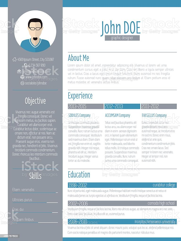 modern resume cv design with photo stock illustration