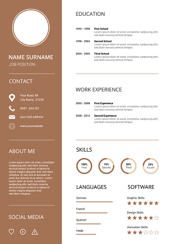 Modern Resume CV Template, clean design with brown icons