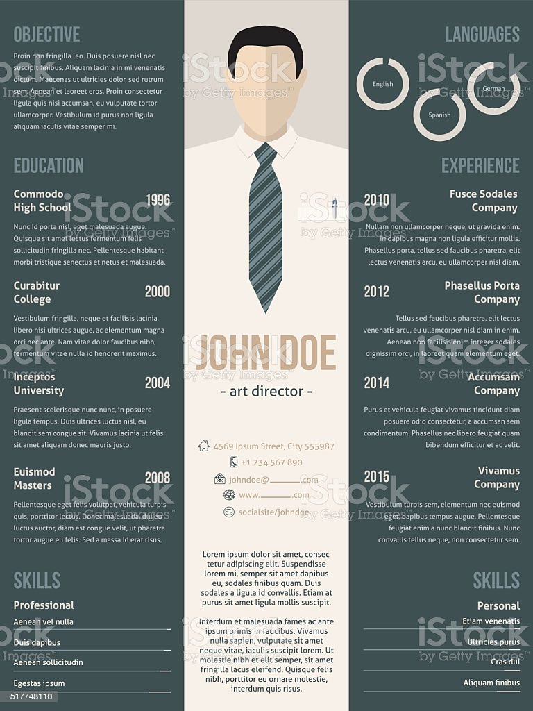 Modern Resume Cv Template With Business Suit Stock Vector Art  More