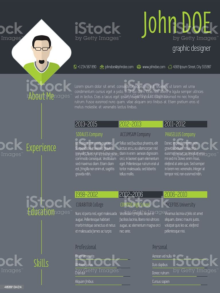 Modern Resume Cv With Photo And Dark Background Stock Illustration Download Image Now Istock