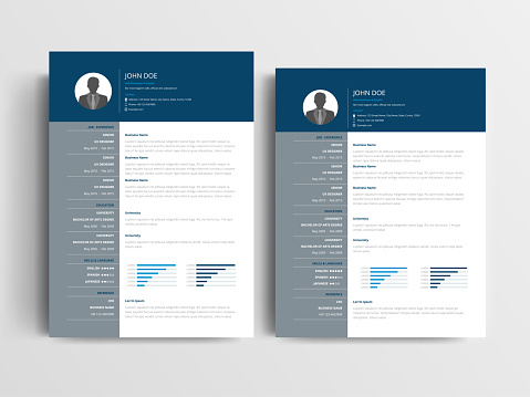 A Modern resume layout with a dark blue header and gray, left-aligned sidebar element. A4 and US letter sizes Vector Illustration