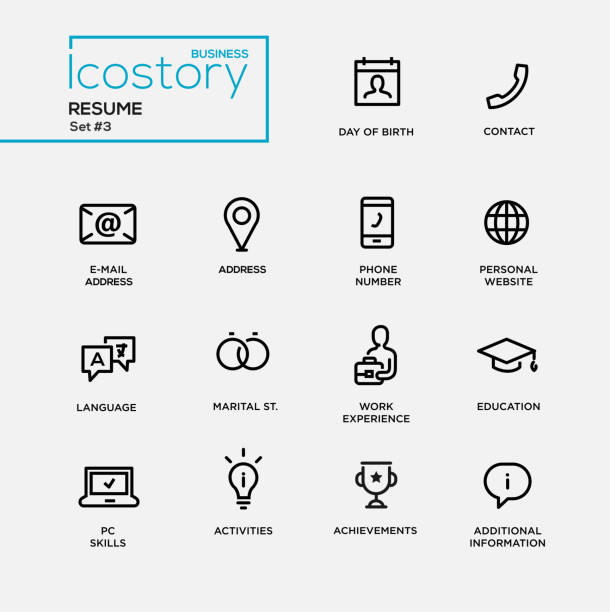 bildbanksillustrationer, clip art samt tecknat material och ikoner med modern resume simple thin line design icons, pictograms set - curriculum vitae