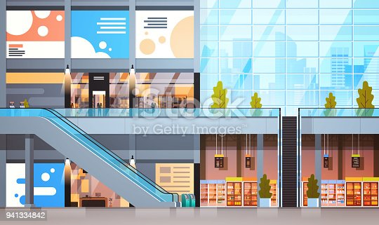 Modern Retail Store With Many Shops And Supermarket Empty Interior No People Flat Vector Illustration