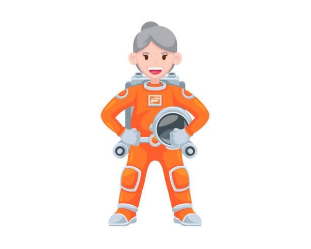 moderne ruhestand großmutter astronaut character illustration - forschungsurlaub stock-grafiken, -clipart, -cartoons und -symbole