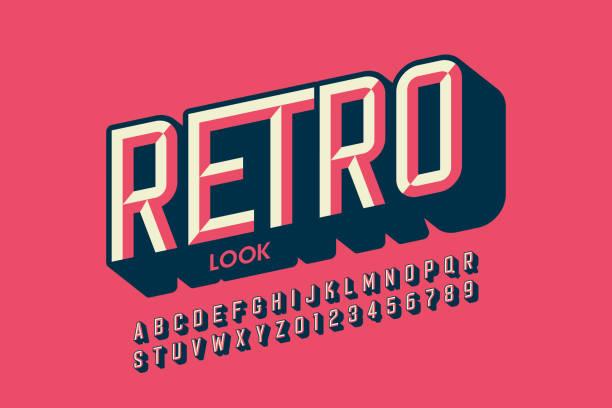 Modern retro style font, retro look alphabet vector art illustration
