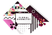 Modern, retro style, geometric, pop, banner, brochure, advertisement, flyer. Geometric figures, beautiful abstract flowers pattern, figures with zebra lines, dots and frame with gold glitter