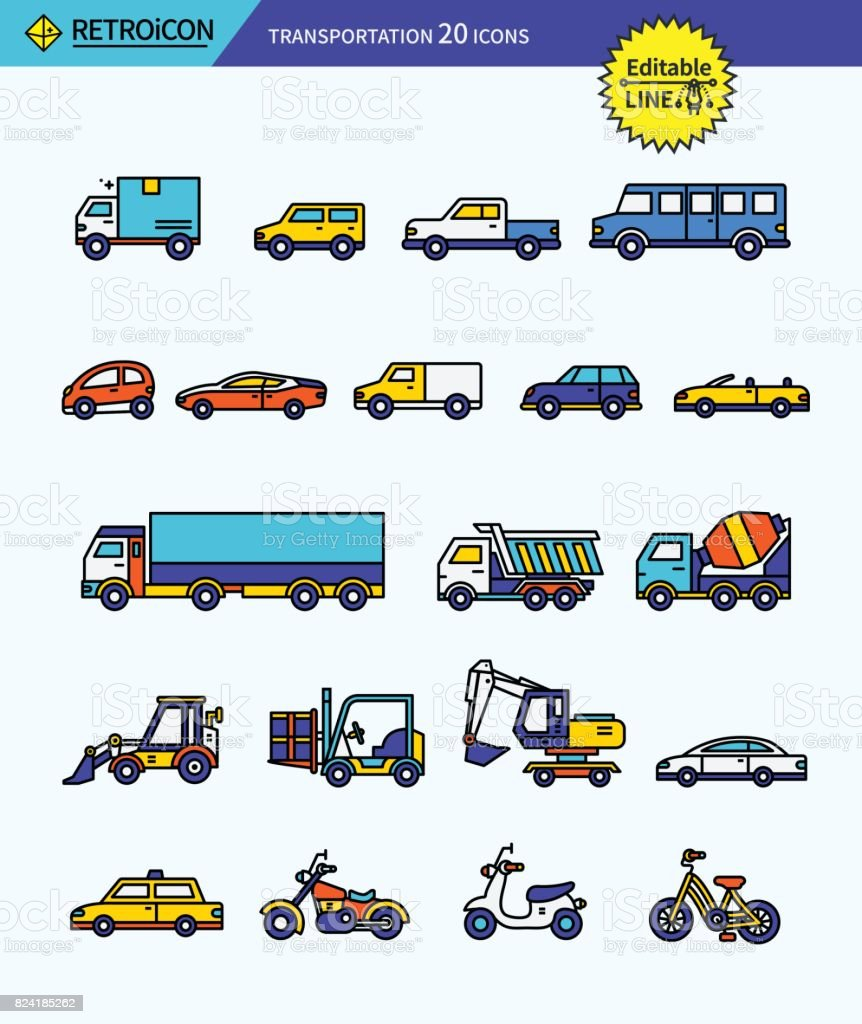 Modern retro thin line icons set of transportation. Premium quality outline symbol set. Simple linear pictogram pack. Editable line series vector art illustration