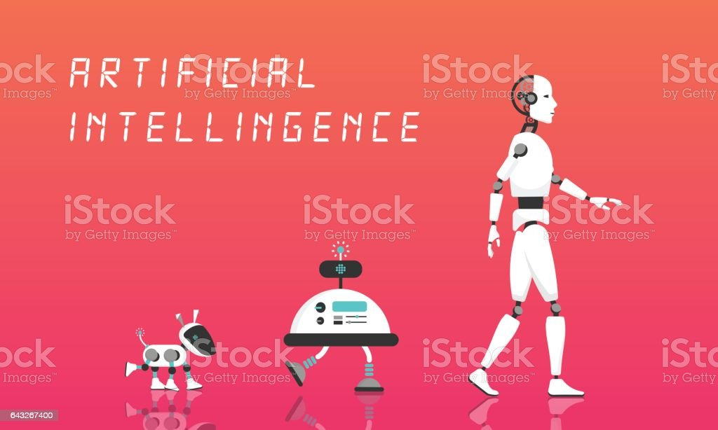 Modern Robot and artificial intelligence.