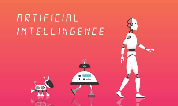 Modern Robot and artificial intelligence. vector art illustration