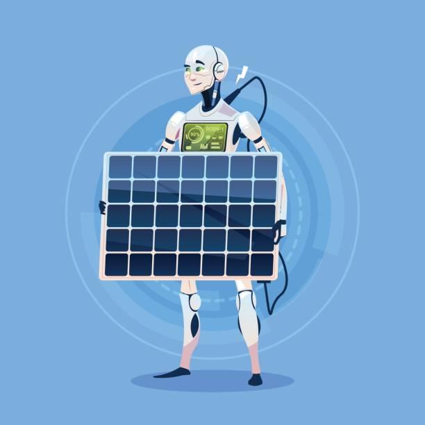 bildbanksillustrationer, clip art samt tecknat material och ikoner med moderna robot laddning batteriet från solpanel futuristiska artificiell intelligens teknik koncept - solar panel