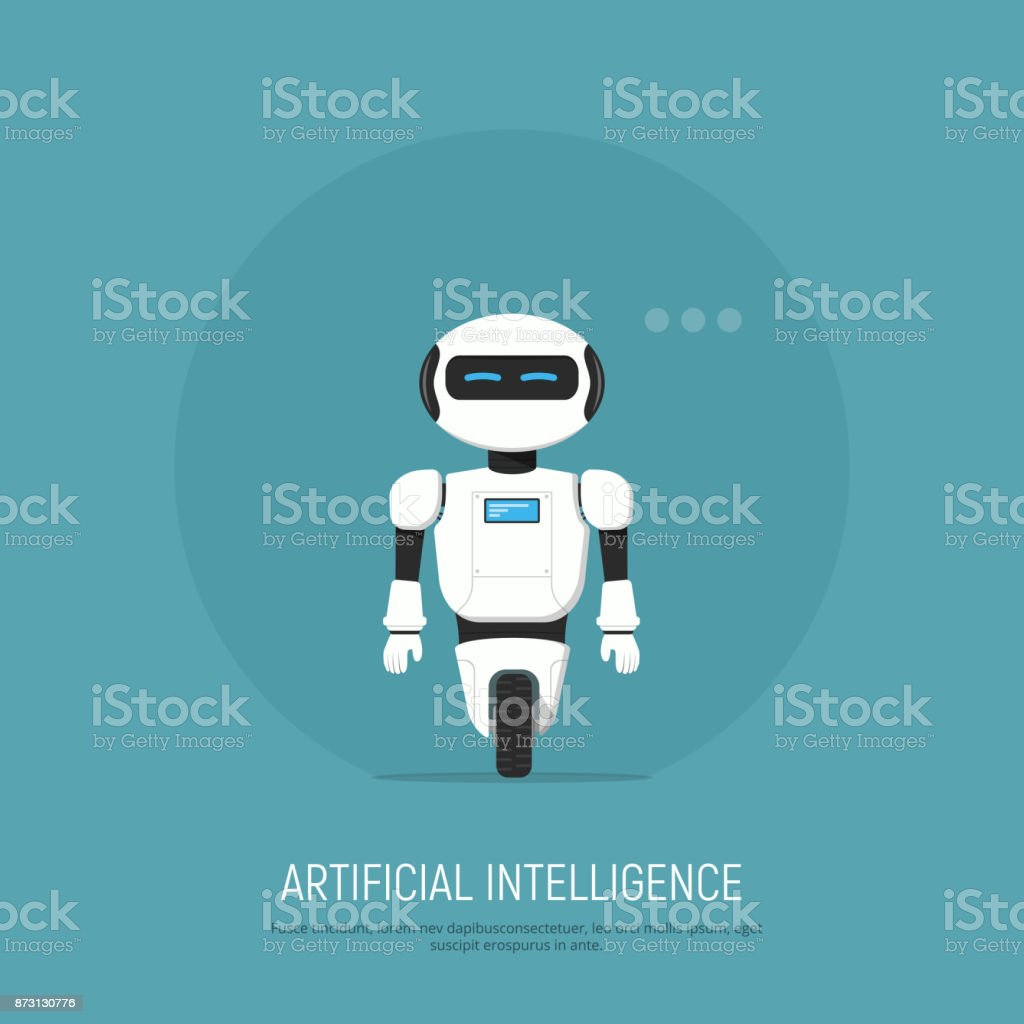 Modern Robot in flat style. Concept artificial Intelligence. vector art illustration