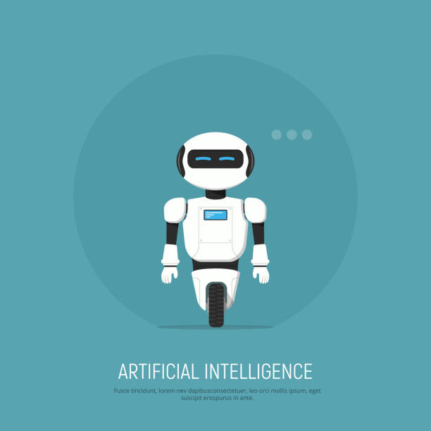 modern robot in flat style. concept artificial intelligence. - robotics stock illustrations, clip art, cartoons, & icons
