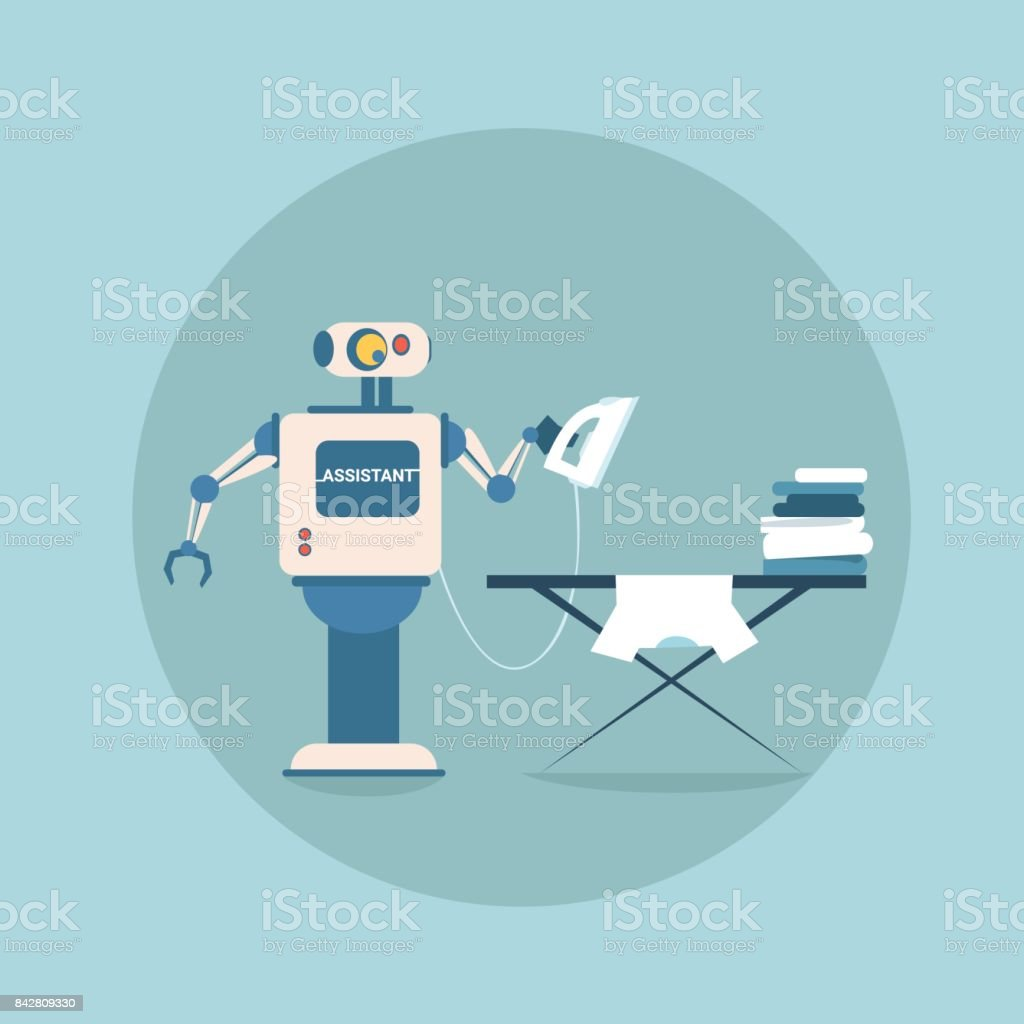 Modern Robot Iron Clothes Futuristic Artificial Intelligence