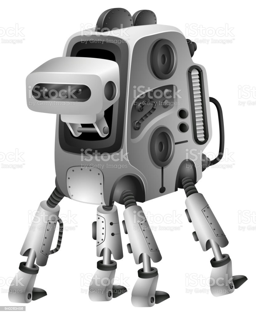 Modern robot with four legs vector art illustration