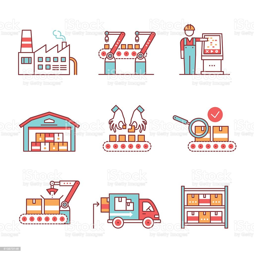 Modern robotic, manual manufacturing assembly line vector art illustration