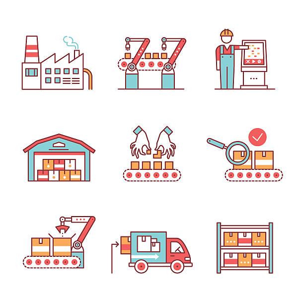 Modern robotic, manual manufacturing assembly line vector art illustration