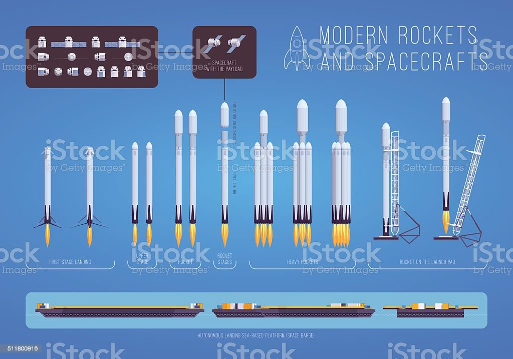 Modern rockets and spacecrafts vector art illustration