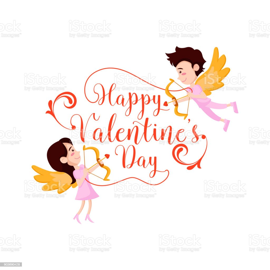Modern Romantic Flying Angel Couple Happy Valentine Illustration  Royalty Free Stock Vector Art