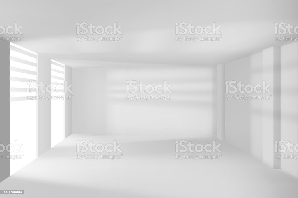 Moderne ruimte met witte muren en vensters leeg hitech kamer