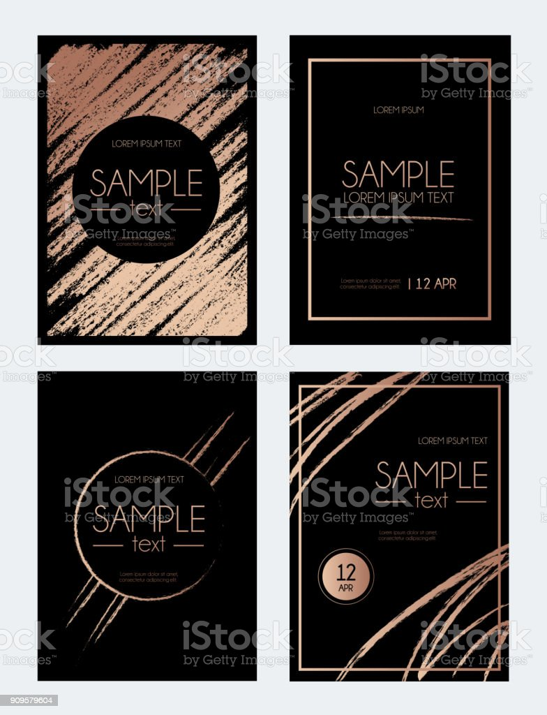 Modern Rose Gold Design Template With Brush Effect Abstract Design