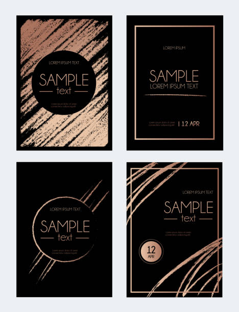 Modern rose gold design template with brush effect. Abstract design for invitation, greeting card. Black background with brush strokes. vector art illustration