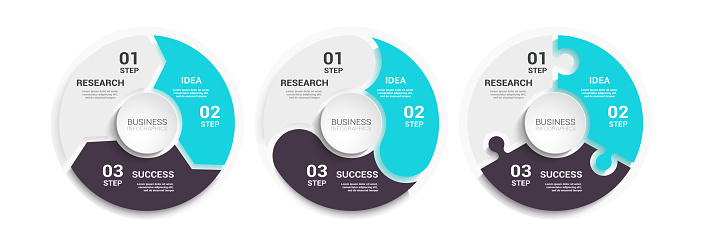 Modern Round Chart 3D Infographic Template with a Three Steps for Success. Business Circle Template with Options for Brochure, Diagram, Workflow, Timeline, Number Options