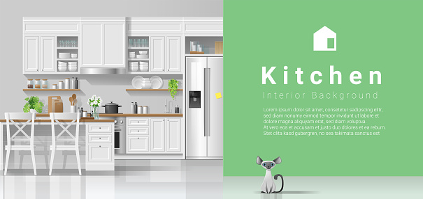 Modern rustic kitchen with green wall background , vector , illustration