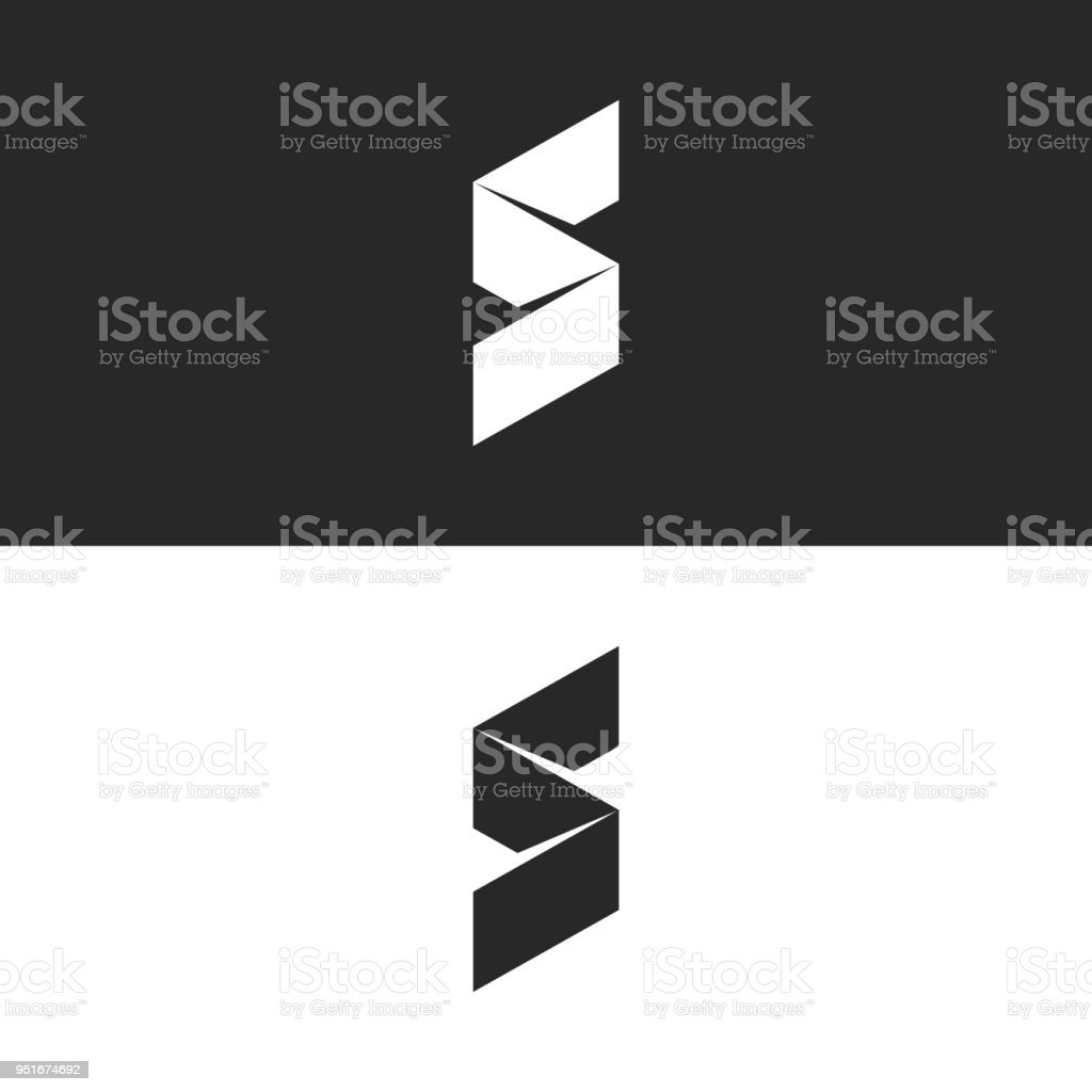 Modern S Letter Icon 3d Ribbon Isometric Broken Line Simple Shape Creative Minimal Style Identity
