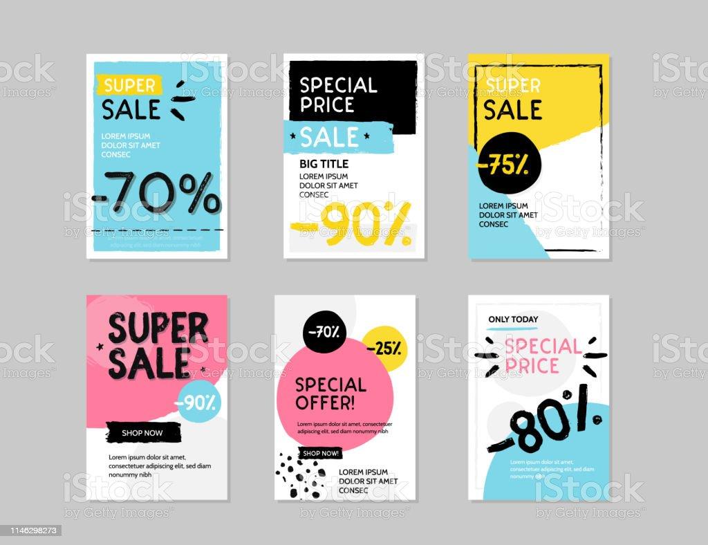Modern sale banner template set. Grunge Vector illustration for shop...