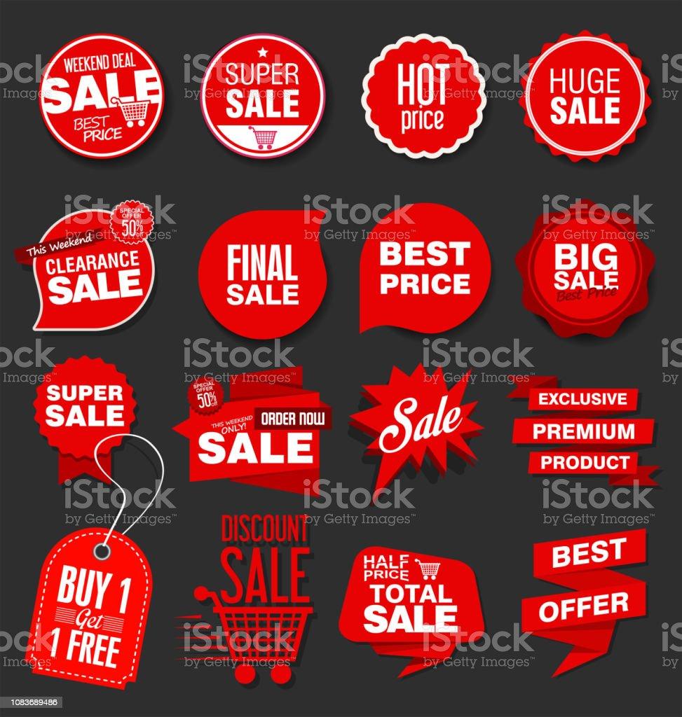 현대 판매 배너 및 레이블 컬렉션 - 로열티 프리 가격 벡터 아트