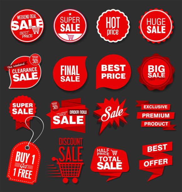 banner und etiketten sammlung moderner verkauf - konsum stock-grafiken, -clipart, -cartoons und -symbole