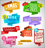 Modern sale origami Christmas banners and labels collection