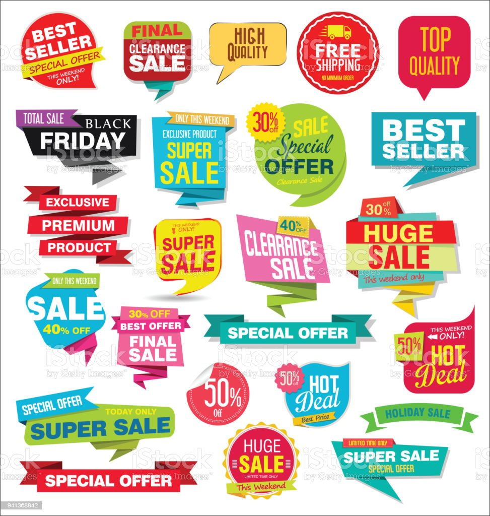 Collection colorée autocollants et étiquettes de vente moderne - Illustration vectorielle