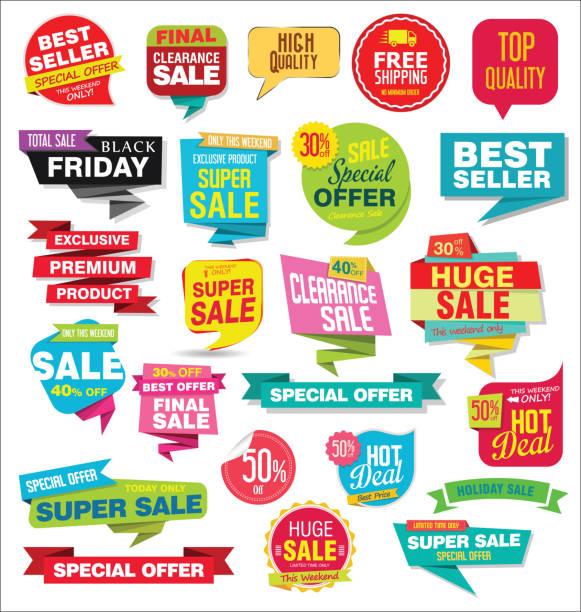 ilustraciones, imágenes clip art, dibujos animados e iconos de stock de venta modernas etiquetas y etiquetas engomadas de la colorida colección - corredor de bolsa