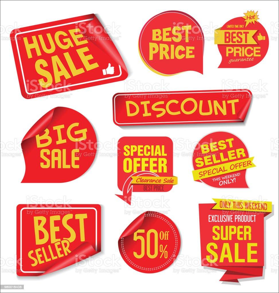 Moderne Verkauf Aufkleber Und Beschriftungen Bunte Sammlung Lizenzfreies  Moderne Verkauf Aufkleber Und Beschriftungen Bunte Sammlung Stock