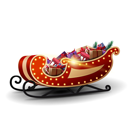 Modern Santa Claus sleigh with yellow lights and lots of presents isolated on white background