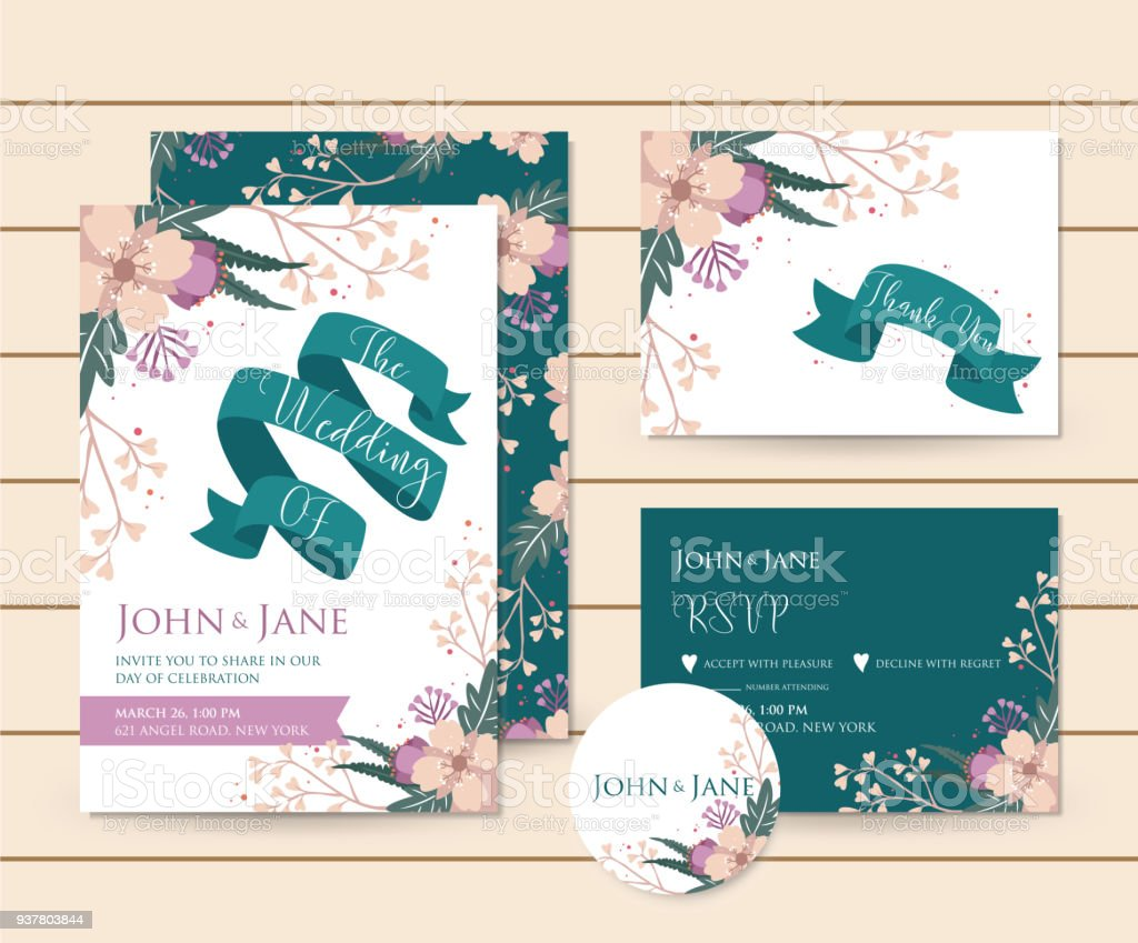 Modern Save The Date Floral Wedding Invitation Card Template