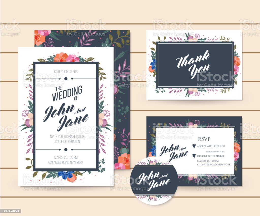 Modern Save The Date Floral Wedding Invitation Card Template ...
