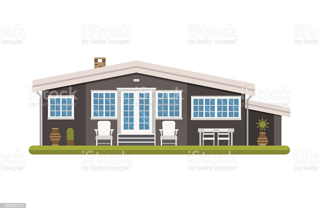 Modern Scandinavian Design Cottage House vector art illustration